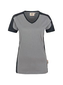 Damen V-Shirt Contrast Performance